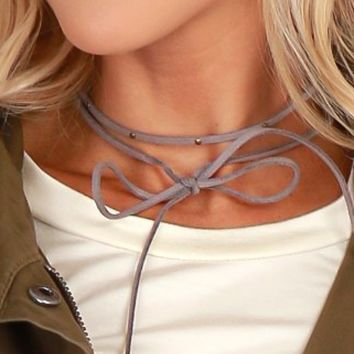 Grey Skies Wrap Choker Grey