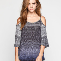 Patrons Of Peace Womens Cold Shoulder Top Indigo  In Sizes
