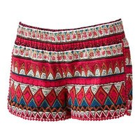 Tinseltown Smocked Crochet Shortie Shorts - Juniors