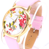 Baby Pink Faux Leather Round Face Floral Print Watch