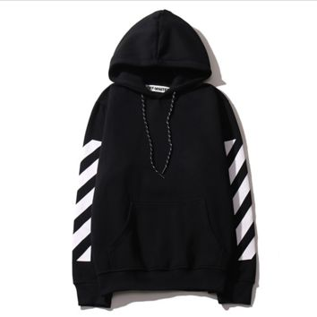 Autumn and winter new off white base paragraph oblique stripe letters cotton men and women hooded sweater coat tide Black