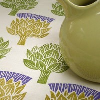 Artichoke Thistle linen tea towel