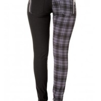 Banned Apparel Tartan Split Leg Skinny Jeans | Attitude Clothing