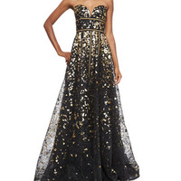 Naeem Khan Strapless Metallic & Lace Gown