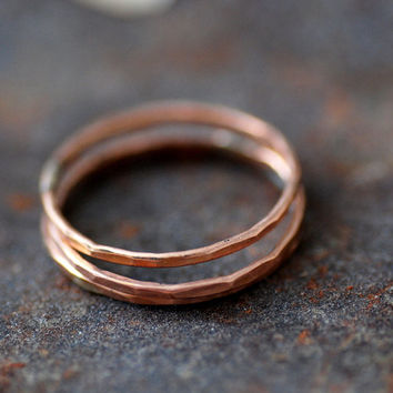 Rose Gold Rings, Rose Gold Stacking Rings, Hammered Rings, 14/20k Pink Gold-Filled, Skinny Rings, Set of 3, Delicate Rings, MADE TO ORDER