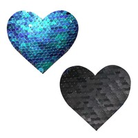 Neva Nude Ariel Green & Black Sequin Heart Pasties