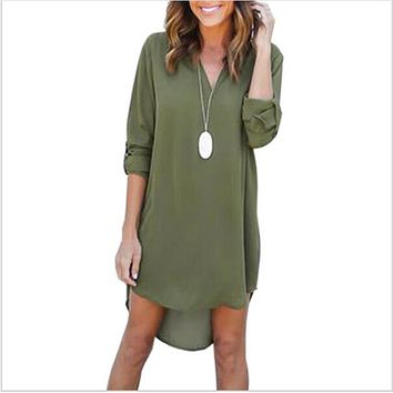Women Casual Loose Plus Size Elegant  Long Sleeve Dress