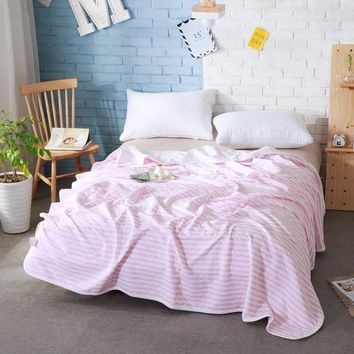 100% Cotton Towel Blanket Ventilate Air Conditioning Plaid Summer Fabrics and Comfortable Soft Throw Blankets