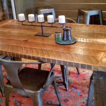 Reclaimed heart pine dining table
