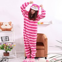 New Sleepsuit Cheshire Cat Pajamas Adult Onesuit Animal Rompers Womens Jumpsuit Cartoon Cosplay Costumes Pyjama