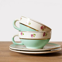 Set of 2 beautiful french cups and saucers Moulin des Loups - Mint, gold and pink flowers porcelain - Shabby Chic