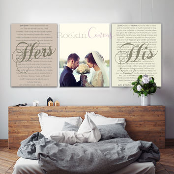 Set of 3 Wedding Vows Canvas, Anniversary Gift Canvas with photo
