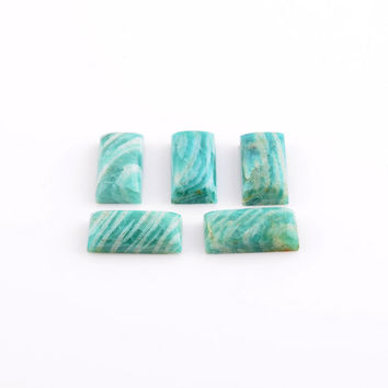 Beautiful Amazonite Loose Gemstone, 8x16 Rectangle Calibrated Cabochon Gemstones Wholesale Supplier -5Pcs