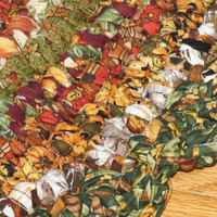 Hand Crocheted Round Cotton Fabric Rag Rug  with Scalloped Edging / Autumn Colors
