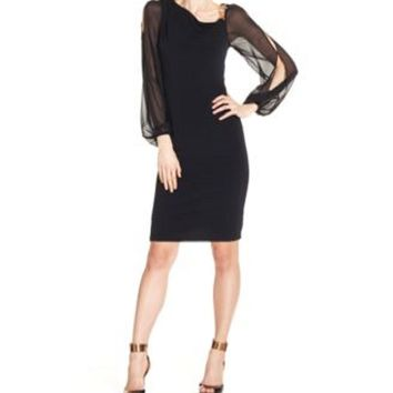 $128 New Ivanka Trump Women's Split Long Sleeve illusion Black Tunic Dress Size 2