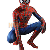 Free Shipping Raimi Spiderman Costume 3D Printed Kids/Adult Lycra Spandex Spider-man Costume For Halloween Fullbody Zentai Suit