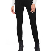 Suedette Panel Leggings - Black - Large