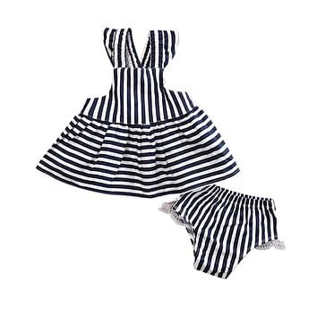 2Pcs Baby Girls Clothing Set Newborn Baby Girls Summer Sunsuit Striped Backless Dress Briefs Outfits Clothes