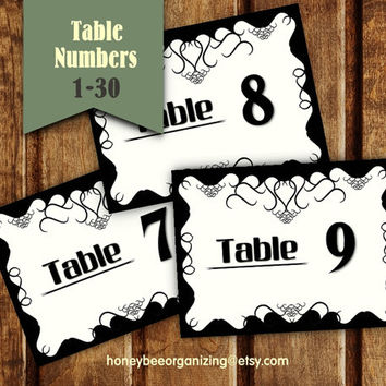Black and White Wedding Table Numbers - Printable Wedding Place Card  - Printable Wedding Table Numbers - Classic Wedding Design