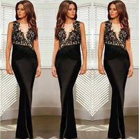New Sexy Women Long Evening Dress Lace Sleeveless Party Bodycon Cocktail Dress