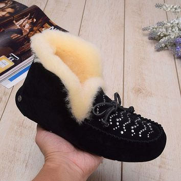 LFMON UGG 1014357 Tall Diamond Women Men Fashion Casual Wool Winter Snow Boots Black