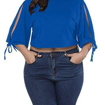 Allegrace Women Plus Size Open Shoulder Tie String Crop Top Casual Loose T Shirt
