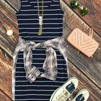 Ribbed Striped Tank Dress: Navy