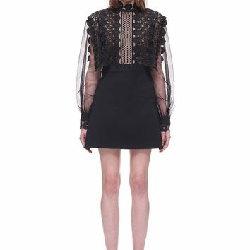 Balloon Sleeve A Line Mini Dress with Lace Panels