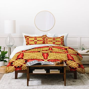Chobopop Horse Pattern Red Duvet Cover