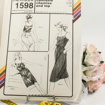 Camisole Chemise and Top  - Pattern 1598  - Vintage Sewing Pattern  - Vintage Stretch & Sew Pattern  - 1980 Pattern  - Ann Person