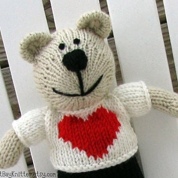 Lover Boy Toy - Knitted Teddy Bear - Stuff Toy - Small Toy - Hand Knit Bear Stuff Animal - Child Toy - Knitted Toy - Valentine's Day Cody