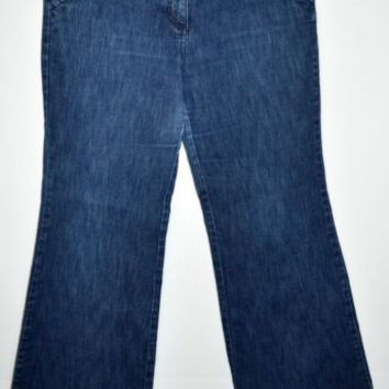 New York & Co Sz 14 Jeans Dark Blue Wash Wide Leg