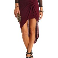 Twisted Knot High-Low Tulip Skirt by Charlotte Russe - Wine