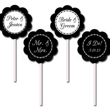 Black and White Personalized Bridal Cupcake Toppers - Modern Printable DIY Party Circles - Custom Wedding Colors - Bridal Shower, Wedding