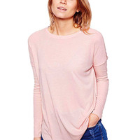 Light Pink Blouse with Drop Shoulder Detail