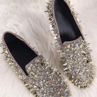 Glitter And Studded Spikes Loafer Flat