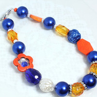 OKC Team Spirit Bling Necklace, Orange and Blue N1296