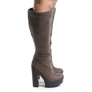 Floret By Speed Limit 98, Round Toe Knee High Zip Up Lug Sole Platform Chunky High Heel Boots