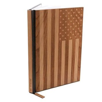 Handcrafted American Flag Wood Journal / Planner
