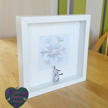 Olaf, snowman, figure frame, frozen inspired, picture display, kids gift ideas, birthday gifts for girls, Christmas gift, Elsa, Anna, sister