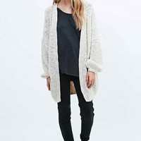 Pins & Needles Balloon Sleeve Cardigan in Ivory - Urban Outfitters