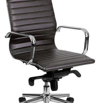 High Back Brown Ribbed Upholstered Leather Executive Swivel Office Chair