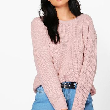 Lily Chunky Jumper With Rib Transfers | Boohoo
