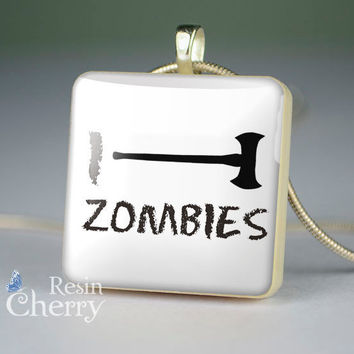 quote scrabble tile pendant,quote glass pendants,zombies resin pendants- P0358SI