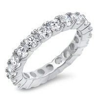 A Perfect 3TCW Round Cut Russian Lab Diamond Full Eternity Ring