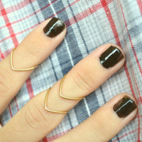 Knuckle Ring Chevron Arrow Joint Ring Gold Brass Wire Wrap Stackable Boho Bohemian Hippie Eclectic Statement Jewelry Adjustable