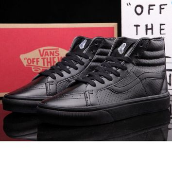 vans Classic tending leather hollow zipper high top casual shoes Full Black