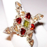 Vintage Gothic Cross Ring Sterling Silver & Genuine Gemstones Garnet Peridot Citrine Sz 9 VG