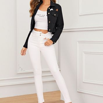 Cut-Out Pocket Patch Button Front Crop Denim Jacket