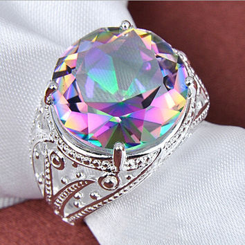 White crystal seven colored stone ring